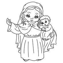 Dibujo de Maria con el niño Jesus para colorear - Dibujos para Colorear y Pintar - Dibujos para colorear FIESTAS - Dibujos para colorear de NAVIDAD - Dibujos para colorear de NAVIDAD NACIMIENTO - Dibujos de VIRGEN MARIA para colorear