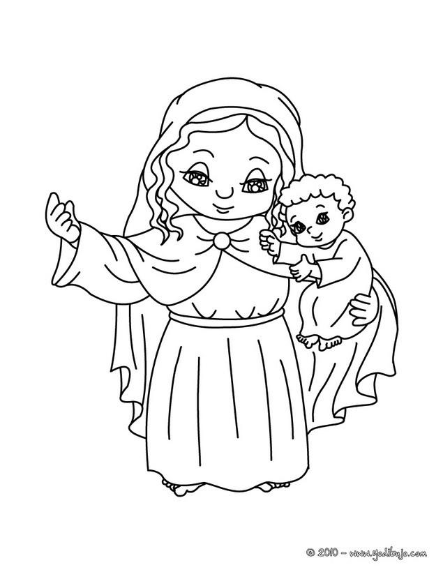 Dibujos para colorear maría y al niño jesús - es.hellokids.com
