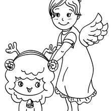 Dibujo para colorear de un angel de navidad - Dibujos para Colorear y Pintar - Dibujos para colorear FIESTAS - Dibujos para colorear de NAVIDAD - Dibujos de ANGELES NAVIDAD para colorear