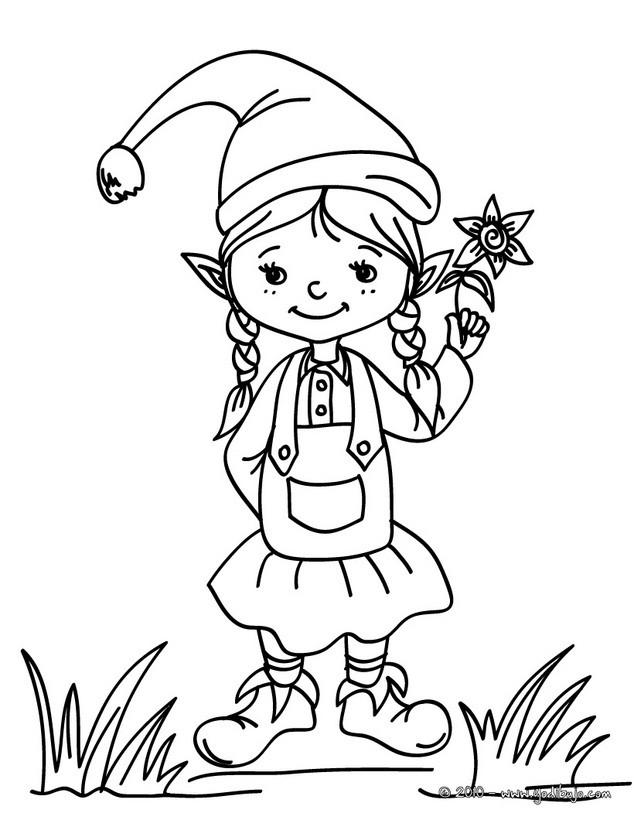 Dibujos para colorear una pequeña duende de navdiad - es.hellokids.com