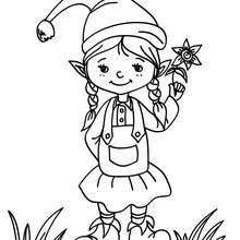 Dibujo de una pequeña duende de navdiad para colorear - Dibujos para Colorear y Pintar - Dibujos para colorear FIESTAS - Dibujos para colorear de NAVIDAD - Dibujos ELFOS DE NAVIDAD para colorear