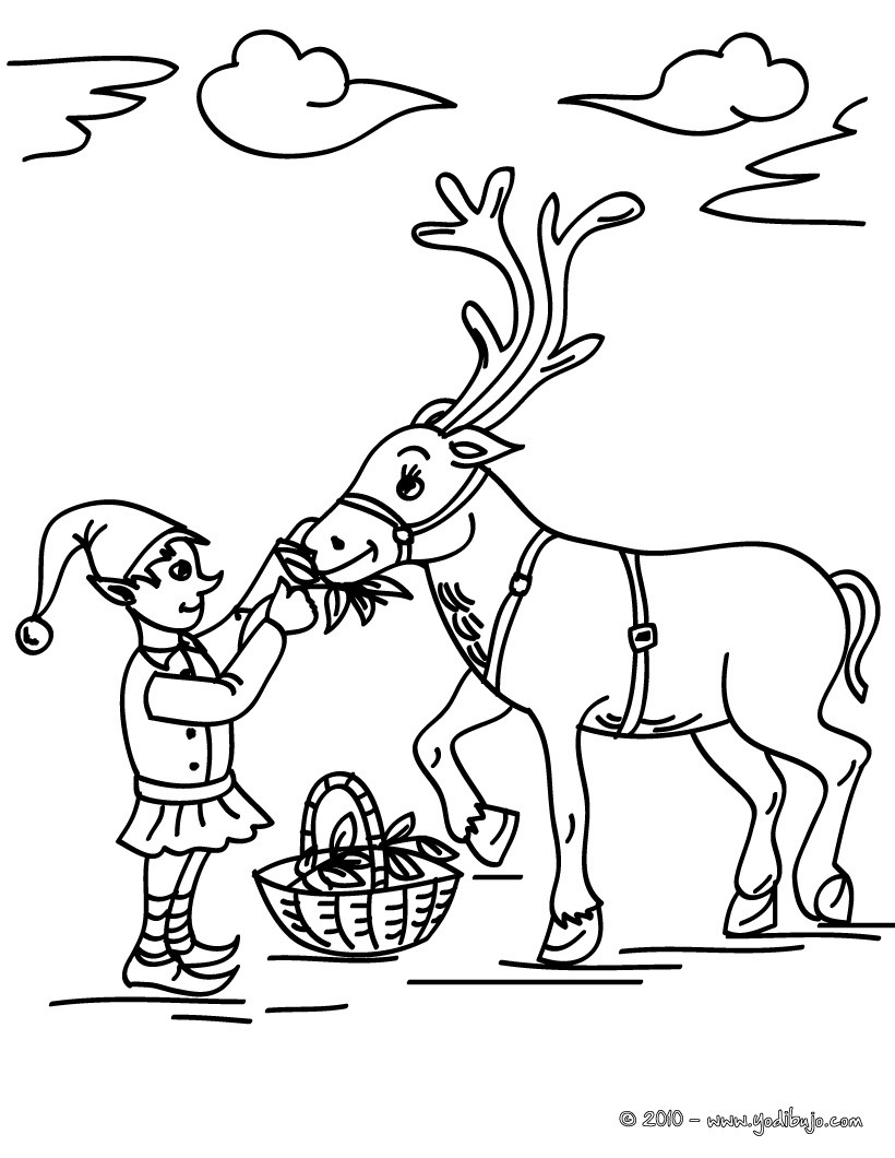 dibujo para colorear un reno navideo con un duende