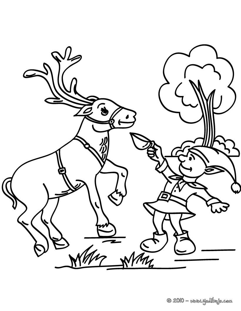 Dibujos para colorear duende y reno de navidad - es.hellokids.com