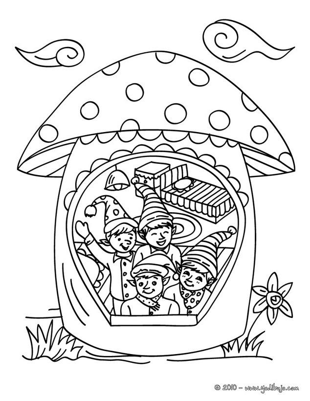 Dibujos para colorear casa de los duendes de papa noel - es ...