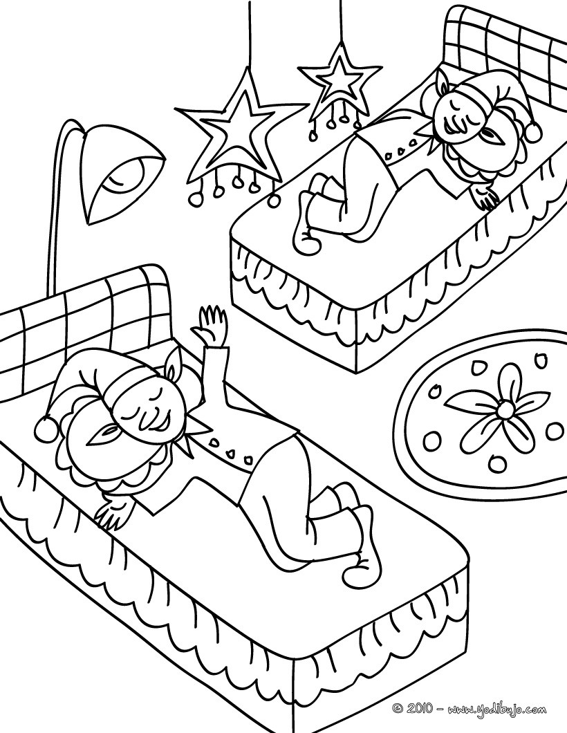 Dibujos para colorear duendes navideños durmiendo - es.hellokids.com