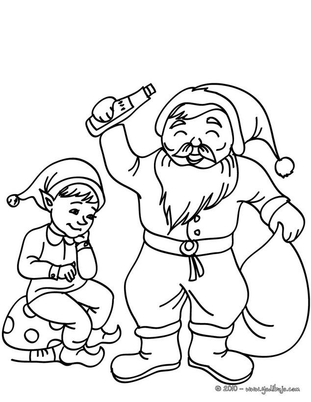 Dibujo para colorear : Santa Claus con un duende navideño