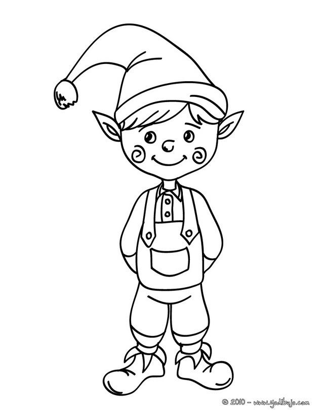 Dibujo para colorear : duende de Navidad