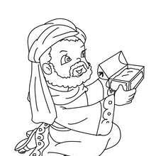 Dibujo para colorear de Gaspar obsequiando un regalo - Dibujos para Colorear y Pintar - Dibujos para colorear FIESTAS - Dibujos para colorear de NAVIDAD - Dibujos para colorear de los REYES MAGOS de Navidad - Colorear GASPAR