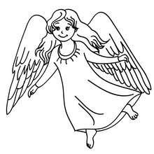 Dibujo para colorear un angel de Navidad con grandes alas - Dibujos para Colorear y Pintar - Dibujos para colorear FIESTAS - Dibujos para colorear de NAVIDAD - Dibujos de ANGELES NAVIDAD para colorear