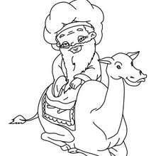 Dibujo para colorear el rey mago MELCHOR con su camello - Dibujos para Colorear y Pintar - Dibujos para colorear FIESTAS - Dibujos para colorear de NAVIDAD - Dibujos para colorear de los REYES MAGOS de Navidad - Colorear MELCHOR