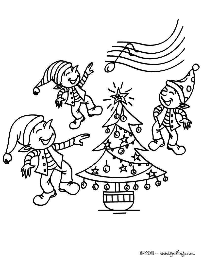 Dibujos para colorear un grupo de duendes de navidad - es.hellokids.com