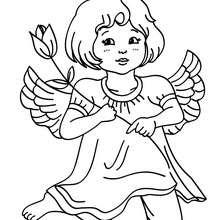 Colorear un angel de navidad de rodillas - Dibujos para Colorear y Pintar - Dibujos para colorear FIESTAS - Dibujos para colorear de NAVIDAD - Dibujos de ANGELES NAVIDAD para colorear