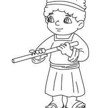 Dibujo para colorear un flautista en el pesebre - Dibujos para Colorear y Pintar - Dibujos para colorear FIESTAS - Dibujos para colorear de NAVIDAD - Dibujos para colorear de NAVIDAD NACIMIENTO - Dibujos del PORTAL DE BELEN navideño para colorear