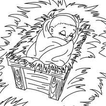 Dibujo para colorear : niños Jesus durmiendo