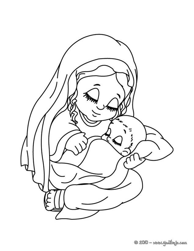 Dibujos para colorear la virgen maria con su bebe el niño jesus - es ...