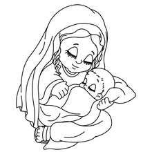 Dibujo de la virgen maria con su bebe el niño jesus para colorear - Dibujos para Colorear y Pintar - Dibujos para colorear FIESTAS - Dibujos para colorear de NAVIDAD - Dibujos para colorear de NAVIDAD NACIMIENTO - Dibujos de VIRGEN MARIA para colorear