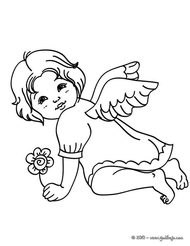 Dibujos para colorear un angelito navideño - es.hellokids.com