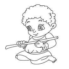 Dibujo de un niño en el pesebre navideño para colorear - Dibujos para Colorear y Pintar - Dibujos para colorear FIESTAS - Dibujos para colorear de NAVIDAD - Dibujos para colorear de NAVIDAD NACIMIENTO - Dibujos del PORTAL DE BELEN navideño para colorear