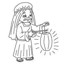 Dibujo de un hombre con luz en el pesebre para colorear - Dibujos para Colorear y Pintar - Dibujos para colorear FIESTAS - Dibujos para colorear de NAVIDAD - Dibujos para colorear de NAVIDAD NACIMIENTO - Dibujos del PORTAL DE BELEN navideño para colorear