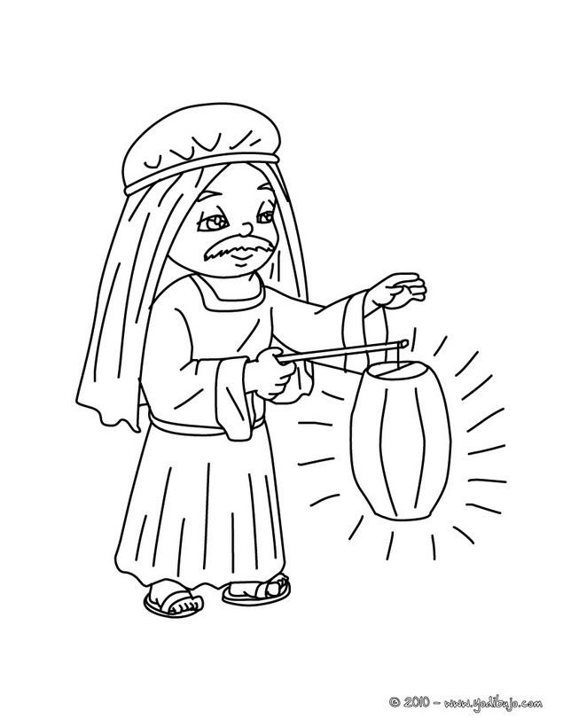 Dibujos para colorear un hombre con luz en el pesebre - es.hellokids.com