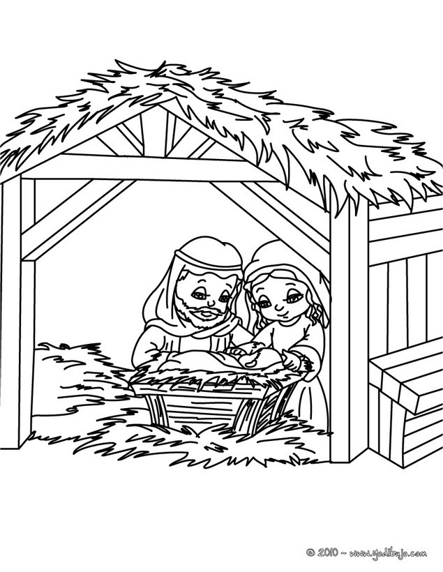 Dibujo de la familia sagrada en el belen para colorear - Dibujos para ...