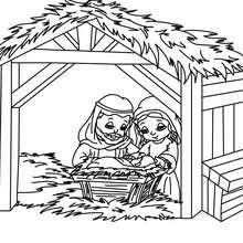 Dibujo para colorear : la familia sagrada en el belen