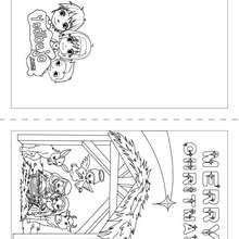 Merry Christmas tarjeta de navidad para coloreear e imprimir - Dibujos para Colorear y Pintar - Dibujos para colorear FIESTAS - Dibujos para colorear de NAVIDAD - TARJETAS NAVIDEÑAS para imprimir y colorear