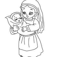 Dibujo de una niña con elniño jesus para colorear - Dibujos para Colorear y Pintar - Dibujos para colorear FIESTAS - Dibujos para colorear de NAVIDAD - Dibujos para colorear de NAVIDAD NACIMIENTO - Dibujos del PORTAL DE BELEN navideño para colorear