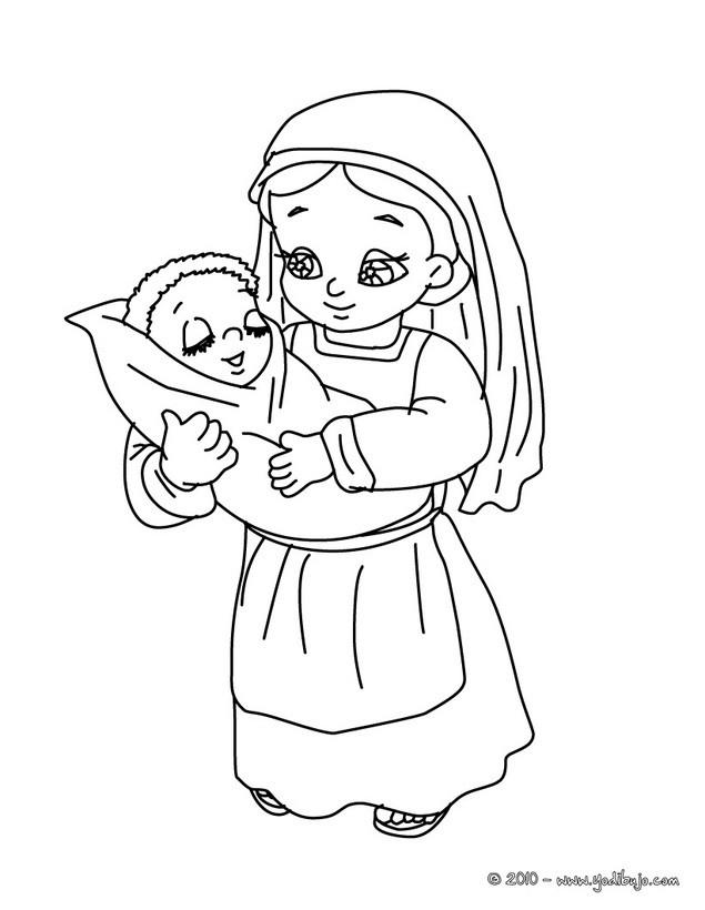 Dibujos para colorear una niña con elniño jesus - es.hellokids.com