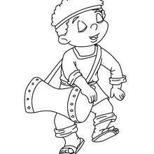 Dibujo de un musico de tambor para colorear - Dibujos para Colorear y Pintar - Dibujos para colorear FIESTAS - Dibujos para colorear de NAVIDAD - Dibujos para colorear de NAVIDAD NACIMIENTO - Dibujos del PORTAL DE BELEN navideño para colorear