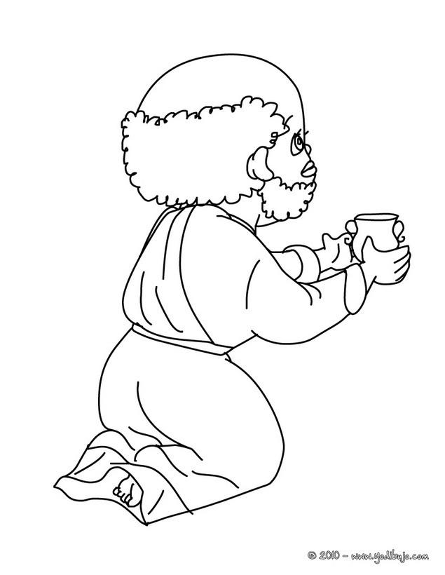 Dibujos para colorear baltasar obsequiando su regalo al niño jesus