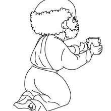 Dibujo para colorear de Baltasar obsequiando su regalo al niño Jesus - Dibujos para Colorear y Pintar - Dibujos para colorear FIESTAS - Dibujos para colorear de NAVIDAD - Dibujos para colorear de los REYES MAGOS de Navidad - Colorear BALTASAR