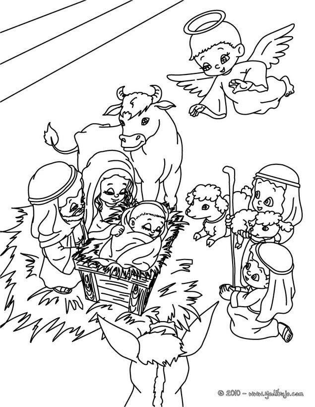 Dibujos para colorear escena del belen navideño - es.hellokids.com