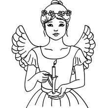 Dibujo para colorear del angel de navidad con una vela - Dibujos para Colorear y Pintar - Dibujos para colorear FIESTAS - Dibujos para colorear de NAVIDAD - Dibujos de ANGELES NAVIDAD para colorear