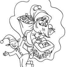 Dibujo para colorear : Ayudante de Santa
