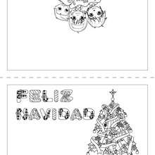Dibujo para colorear : Carta Árbol de Navidad para doblar