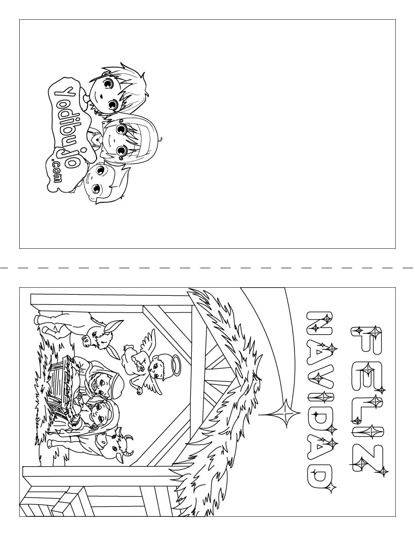 Dibujo para colorear : Carta del Pesebre para doblar