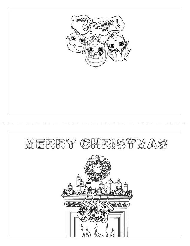 Dibujos para colorear carta merry christmas para doblar - es ...