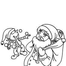 Dibujo para colorear : Papa Noel y ayudante