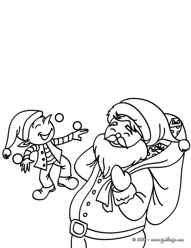 Dibujos para colorear papa noel y ayudante - es.hellokids.com