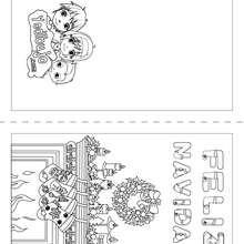Dibujo para colorear : Tarjeta Feliz Navidad para doblar