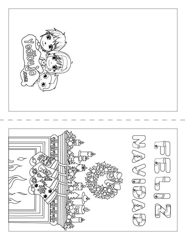 Dibujos Para Tarjetas De Navidad Para Ninos.Dibujos Para Colorear Tarjeta Feliz Navidad Para Doblar Es