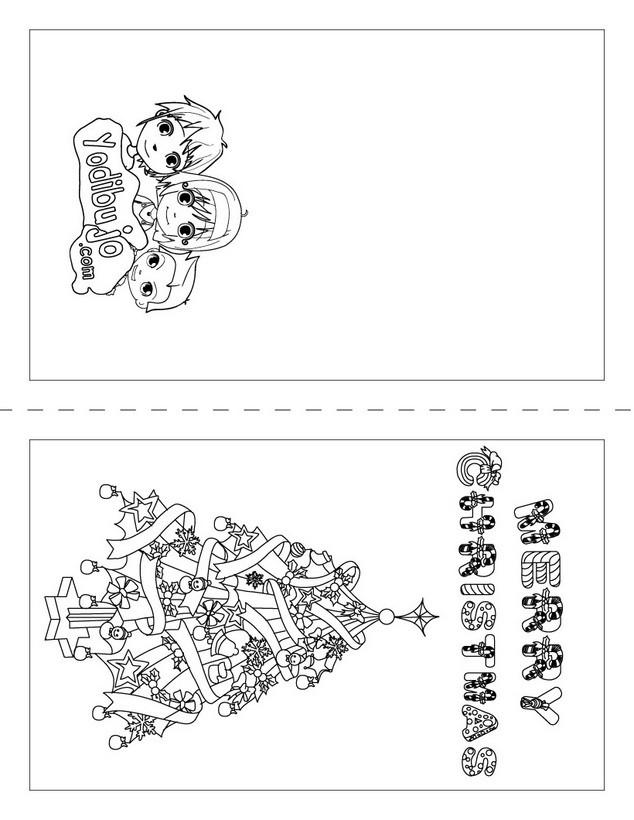 Dibujos para colorear tarjeta merry christmas - es.hellokids.com