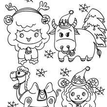 Dibujo para colorear animales del pesebre navideños - Dibujos para Colorear y Pintar - Dibujos para colorear FIESTAS - Dibujos para colorear de NAVIDAD - Dibujos para colorear de NAVIDAD NACIMIENTO - Dibujos para colorear de PESEBRE