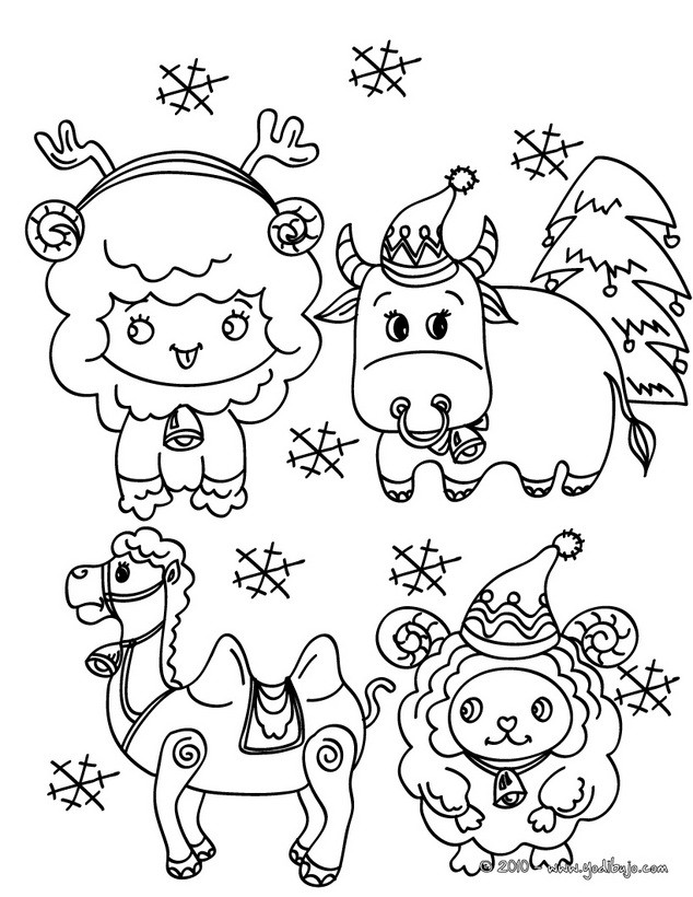 Dibujo para colorear : animales del pesebre navideños