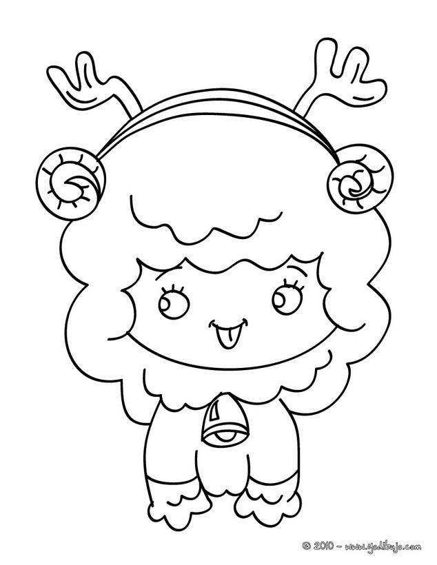Dibujos para colorear cordero chistoso de navidad - es.hellokids.com
