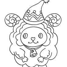 Dibujo para colorear : oveja de navidad