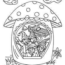 Dibujo para colorear casa de los duendes de papa noel - Dibujos para Colorear y Pintar - Dibujos para colorear FIESTAS - Dibujos para colorear de NAVIDAD - Dibujos ELFOS DE NAVIDAD para colorear