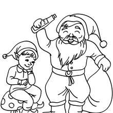 Dibujo de Santa Claus con un duende navideño  para colorear - Dibujos para Colorear y Pintar - Dibujos para colorear FIESTAS - Dibujos para colorear de NAVIDAD - Dibujos para colorear SANTA CLAUS - SANTA CLAUS niños para colorear