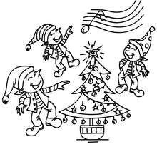 Dibujo para colorear un grupo de duendes de navidad - Dibujos para Colorear y Pintar - Dibujos para colorear FIESTAS - Dibujos para colorear de NAVIDAD - Dibujos ELFOS DE NAVIDAD para colorear